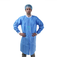 Blue Non Woven Protective Waterproof Disposable Custom Lab Coat with Knitted Cuffs