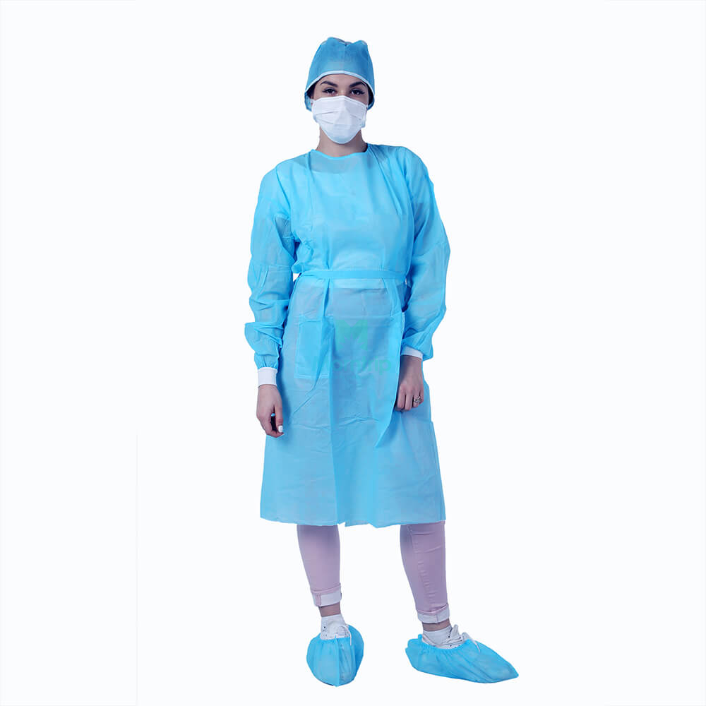 Blue PP Non Woven Impervious Short Sleeve Disposable Isolation Medical Isolation Gown
