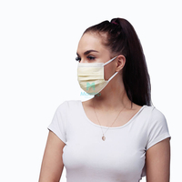 3 Ply Yellow Medical Disposable Surgical Face Mask with Wide Flat Earloop