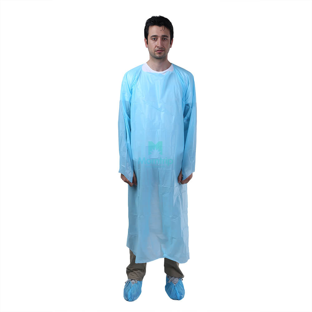 Blue Disposable Isolation CPE Gown