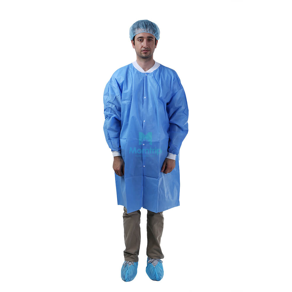 Non Woven Polypropylene Chemistry Waterproof Non Sterile Disposable Custom Lab Coat