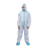 Isolation Non Woven Microporous Painting Protective Type 5 6 Hooded Disposable Suit With Blue Taped Seams