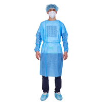 Isolation Non Woven Polypropylene Sterilized Moisture Proof Laminated Disposable Protective Gowns with Elastic Cuffs