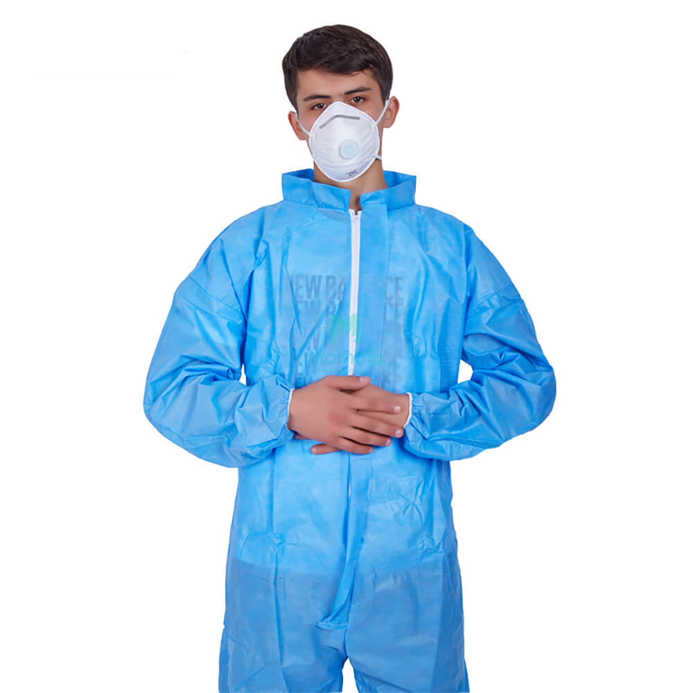 SMS Non Woven Jumpsuit Waterproof Protective Coverall With Short Collar