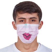 3 Ply Non Woven Earloop Disposable Dental Face Mask with Custom Pattern Printing