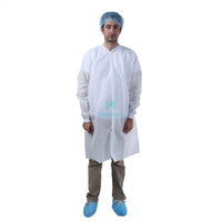 Wholesale Non Woven Protective Breathable Disposable Science Lab Coat with Elastic Cuffs