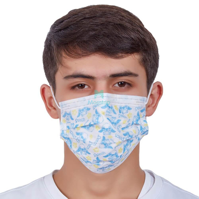3 Ply Japanese Colored Customized Anti Germs Medical Procedure Disposable Earloop Surgical Mask with Pattern Printing