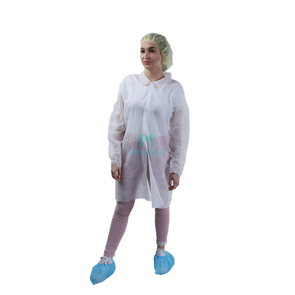 White Non Woven Breathable Barrier Lightweight Disposable Chemistry Lab Coat