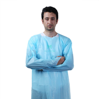 Blue Disposable CPE Gown with Thumb Loop