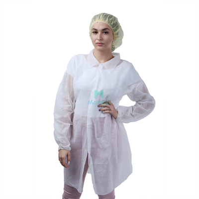 White Wholesale Non Woven Waterproof Anti Static Disposable Lab Coat with Velcro Closure