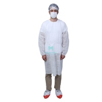 White Insulation Non Woven Safety Disposable Impermeable Protective Isolation Gowns with Elastic Cuffs